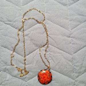 NWT Coral flower pendant necklace
